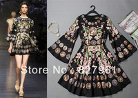 2013 New Women Vintage Long Flare Sleeve  Summer -Autumn Party 100% Silk Gorgeous Mini Print  Dress Free Shipping #042