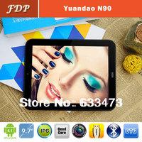 DHL free Hot  Yuandao N90 FHD Android 4.1 RK3188 Quad Core  9.7 inch Tablet PC Retina 2048x1536  1GB 16GB WIFI OTG mid