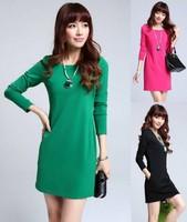 New 2014 Autumn Dress Women Long Sleeve Package Hip Slim Solid Casual Dresses Women Winter Dress office dress Vestidos S M L XL