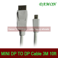 1pcs/lot mini displayport to dp cable mini DP to dp thunderbolt cable male to male 3M Full HD 1080p free shipping