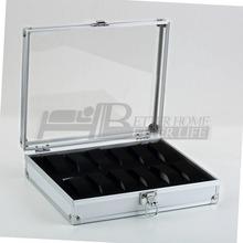 1 pcs Slots jóias 12 grade relógios exibir armazenamento praça caso Box alumínio YKS(China (Mainland))