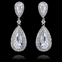 Emerald Clear Water Drop Dangle Earring,Great Design,AAA+ Cubic Zirconia Fashion Earring