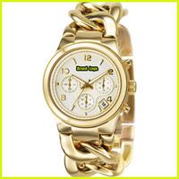 Luxury Brand Gold Rose Gold Silver Quartz Stainless Steel Chain Bracelet Wrist Watch Women Lady Man /w LOGO