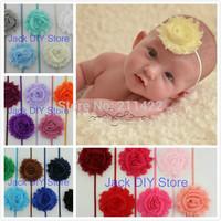 "Sample order 28pcs/lot 28colors  2.5""shabby chiffon Chic Flower 1/8"" Skinny Elastic Headband hair accessories"