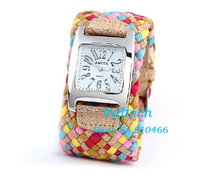 200pcs/lot Lady Fashion Knitted Braided watch Korea Rope Band Strap Quartz Bracelet WristWatch Leather Cord Bracelet