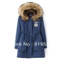 2013 autumn long-sleeve slim waist plus velvet berber fleece outerwear solid color medium-long with a hood wadded jacket female