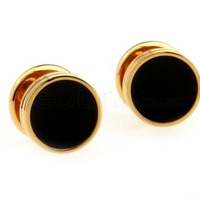 Black and Gold Mens Cufflinks AB0640 Crazy Promotion