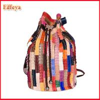 Women Travel Backpack Sheepskin Rucksack Patchwork Genuine Leather Bucket Bag Preppy Style Knapsack