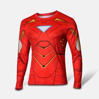 2014 Hot Iron Men Costume Cycling Jersey Outdoor Running  Long Sleeves T-shirt Ironman Casual Jersey Size S-XXXXL