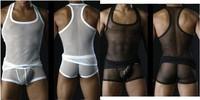 M L XL Mens' Erotic Lingerie Manstore Brand Transparent Fishnet Big Mesh Sexy Costumes For men Vest and Pants Exotic Apparel