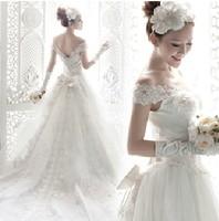 2014 Gossip.H All size All color Personal custom Princess bride tube Top lace slit neckline train wedding Formal dress New