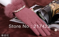 Female autumn and winter cashmere gloves thermal women's cold-proof rabbit fur wool elegant fashion wool gloves