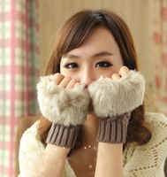 Brand New Free Shipping Fashion Winter Arm Warmer Fingerless Gloves Knitted Fur Trim Gloves Mitten Drop Shipping