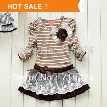 Girl Princess Dress 2013 New Fashion Brand Children Girls Dress Hot Saling Baby Kids Clothing Set(China (Mainland))