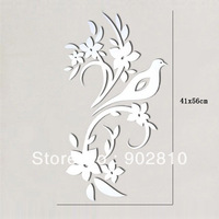 Listed in Stock 41x56 16x22in European Bird Tree Flower Branch 3D Mirror-like Wall Decal Art Stickers Murals MS361020