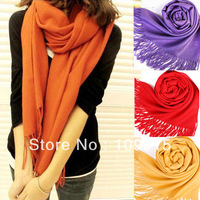 Multicolor Scarves Long Large Warm Wool Blends Soft Wrap Scarf Shawl Tassels New CY0344