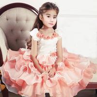 Free shipping Retail 2014 Latest Design stock Summer Girls tutu Dress Stitching Rose Pleated Dress Fashion Prom Dress