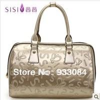 FREE SHIPPING women  tote bags big+100% genuine leather handbag +SISI brand designer2013 new red black silver gfay HOT