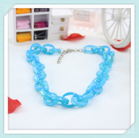Lake Blue Link Chain Choker Resin Necklace 2013 Fashion Jewelry Free Shipping