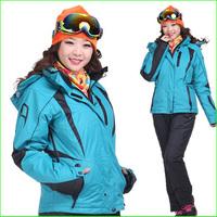 KS05W Two pieces sport suit female outdoor sport suit women winter ski snow suit top hoodie jacket