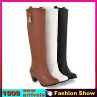 Fashion Women's Knee High Martin Boots 2013 Brand New XB736 Gladiator Vintage Thick Heel Shoes Boots for Women EUR size 34-39