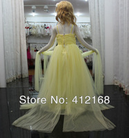 Yellow Fashion Flower Girl Dresses 2014 For Prom Party Ball Wedding Pageant Princess Gowns Children's Train Trailing