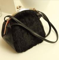 2013 PU rabbit fur bag high quality fur bag clip chain shoulder bag messenger bag female