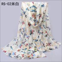 1PC 70*160cm New butterfly printed long lady chiffon silk scarf/WJ-047