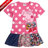 Free Shipping Summer Baby Girls Fashion Cartoon Peppa Pig Ruffles Dress Polka Dot 100% Cotton Girls Cute Princess Dresses