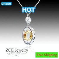 Korean Jewelry Fashion trend Lucky Double Round Pendants with chain Zircon mosaic Double color White K plated Shinning
