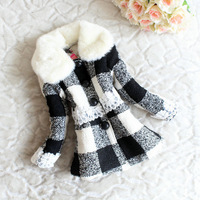 Winter new design! Korean Boutique girls thicken fur collar woolen coat with Imitation leather button black and white plaid coat