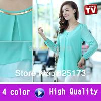 4 color new 2014 autumn summer blusas woman t shirt women chiffon blouse big size chiffon blusas women's shirt casual dress sale
