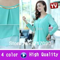 4 color new 2014 autumn summer big size shirt women european style chiffon blouse women blouses flower printed shirts blouses