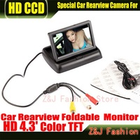 "Free Shipping 2CH Video 4.3 "" Foldable TFT LCD Color Camera Rearview Mirror Car Monitor"
