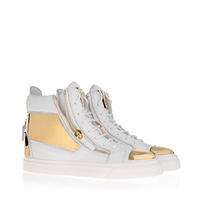 2014-6 New design gold palette for this high-top sneaker in total white tumbled cow leather  with plates Free shipping cost