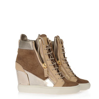 High-top sneakers in tobacco canvas and beige calf leather with inserts in mirrored patent wedge women shoes free shiopping cost