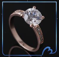 Promotion Stunning Zircon Ring New Brand Rose Gold Wedding Ring Fashion Promise Rings For Women(Min order $8)
