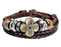Trendy Clover Decoration Leather Bracele BRC015