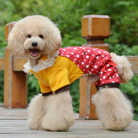 New 2014 Free shipping Pet Products Star Patchwork Lace Clothes Costumes Coat 4 Feet Pants For Winter 5 sizes