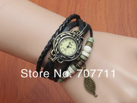 Genuine Cow Leather wrist watch women ladies men fashion vintage leaf tag quartz watch DHL freeshiiping 100pcs/lot