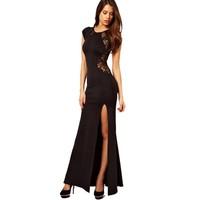 Fashion noble fashion black lace patchwork design long evening dress evening dress ball full dress placketing one-piece dress