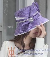 Free Shipping Women Hats Satin Dress Bow Purple Church Hat Ladies' 100% Polyester Made Elegant Formal Women Dress