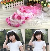 baby Feather Children Girl's Cute lace rose flower Crown Beautiful Pink wedding Flower girl headwear headband free shipping