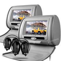 "2x7"" Car Headrest DVD Player Digital LCD Screen Car Pillow Monitor DVD USB SD FM IR Zip Cover Game Headphones"