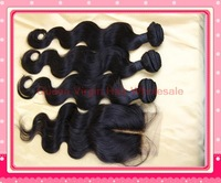 peruvian body wave hair and middle part lace closure mixed natural color 100% virgin hair free shipping