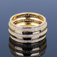 Remarkable 2014 New Fashion Women Elegant 18K Gold Plated Rings 3 Rolls AAA Machine Cutting Zirconia