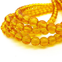 Hot Crystal Beads Glass Round Ball 6 8 10mm Gold Yellow Big Hole Sew on Strand Loose Bead For DIY Jewelry Making HC221