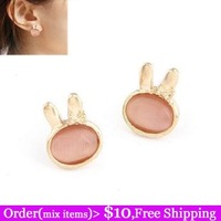 Korean Fashion Boutique Charms Cute Pink Rhinestone Gold Filled Rabbit Stone Women Stud Earrings Cheap