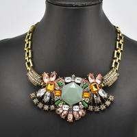 necklace 2013 vintage crystal charm flower necklace big choker luxury high quality jewelry shourouk chrismas gift
