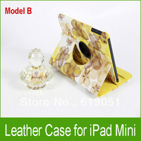 Newest 20pcs Leather case For iPad Mini 360 Rotating Flower Leather Case Cover For iPad Mini Free  Fedex